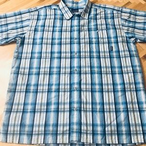 Patagonia Plaid Textured Button Up Large